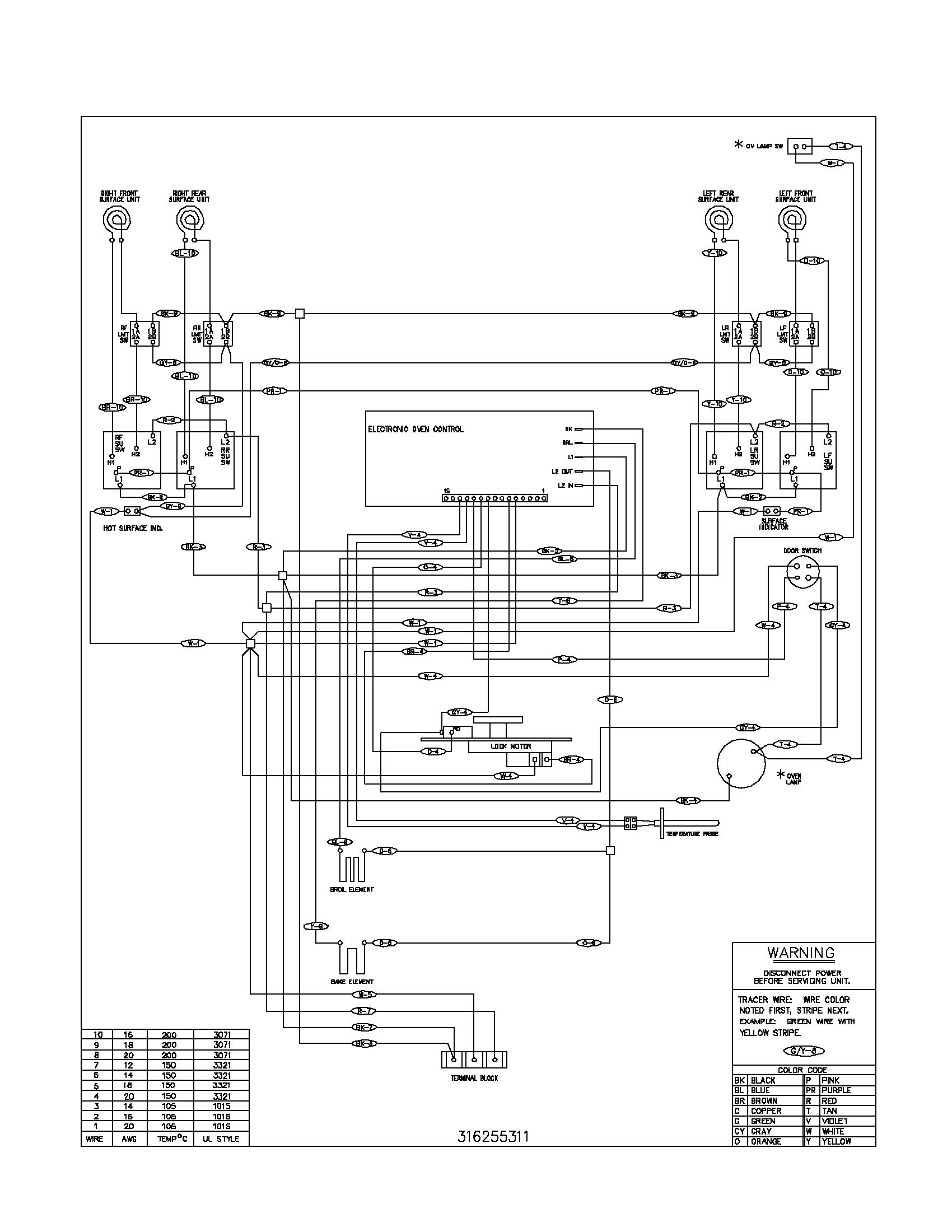 electrolux range wiring diagram